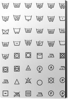 set icone lavaggio e lavatrice Aluminium Print (Dibond)