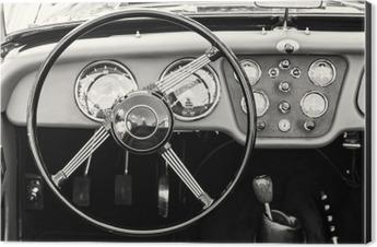 Steering wheel and dashboard in historic vintage car Aluminium Print (Dibond)