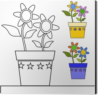 vaso di fiori da colorare Wall Mural • Pixers® • We live to change