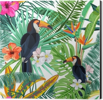 Vector seamless pattern with green tropical palm leaves, hibiscus flowers and bird toucan. Nature background. Summer or spring trendy design elements for fashion textile prints and greeting cards. Aluminium Print (Dibond)