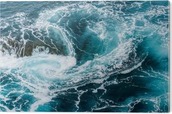 vertiginous, swirling foamy water waves at the ocean photographed from above Aluminium Print (Dibond)
