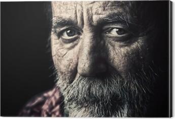 Very old homeless senior man portrait Aluminium Print (Dibond)