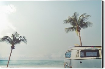 Vintage car parked on the tropical beach (seaside) with a surfboard on the roof - Leisure trip in the summer Aluminium Print (Dibond)
