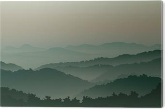 Grønne bjerge i tåge Aluminium Tryk (Dibond)