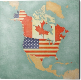 Kort Over Nordamerika Usa Og Canada Argangsserie Plakat