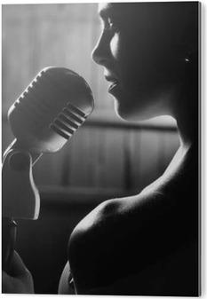 Sensuel kvinde med mikrofon Aluminium Tryk (Dibond)