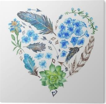 Aluminium Print Boho Style Watercolor Heart Shape