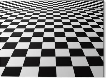 Beste Canvas Een grote zwart-wit checker vloer achtergrond patroon ZE-87