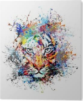 Aluminium Print Heldere achtergrond met tijger