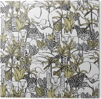 Zebra Print Behang.Naadloos Patroon Met Wilde Dieren Olifant Met Olifant Zebra Kameel Tijger Leeuw Giraf Krokodil Nijlpaard Kleuren Tekenen Behang