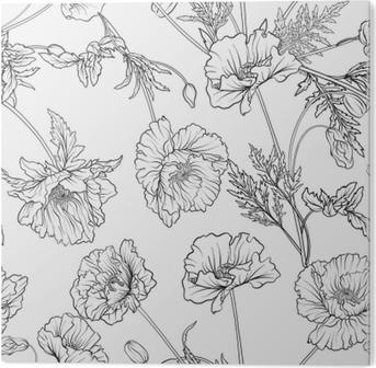 Volwassen Kleurplaten Liefde.Fotobehang Naadloze Patroon Met Poppy Bloemen In Botanische Vintage