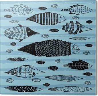 Aluminium Print Verzameling van grappige vissen