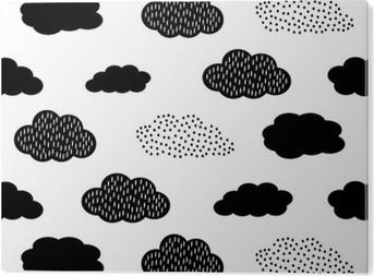 Aluminium Print Zwarte en witte naadloze patroon met wolken. Schattige baby shower vector achtergrond. Child tekenstijl illustratie.