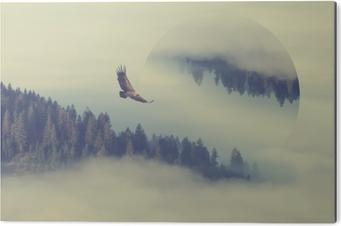 Aluminiumsbilde Skog på fjellet skråningen. geometrisk refleksjonseffekt