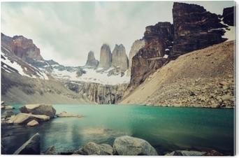 Aluminiumsbilde Torres del Paine nasjonalpark, farge tonet bilde, Patagonia, Chile.