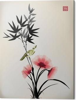 Aluminiumtavla Kinesisk bläck stil blomma fågel ritningen