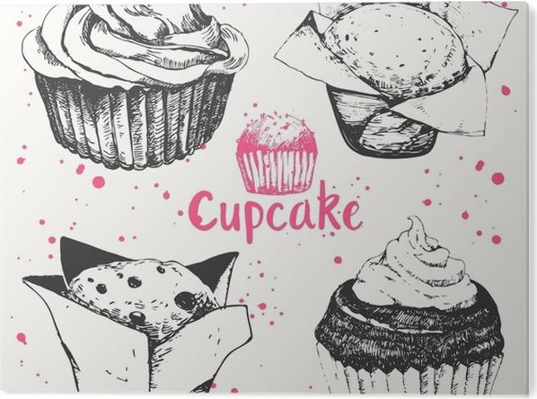 Aluminiumtavla Muffins och muffins. Uppsättning av handritad kakor. - Mat