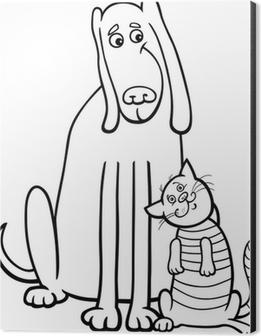 Boyama Kitabi Icin Kopek Ve Kedi Karikatur Poster Pixers