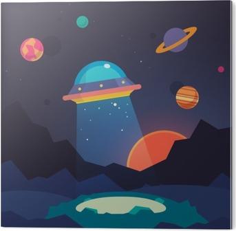 Alüminyum Baskı (Dibond) Gece yabancı dünya manzara ve ufo uzay gemisi