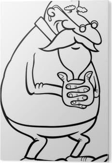 Huysuz Yaşlı Adam Karikatür Illüstrasyon çıkartması Pixerstick