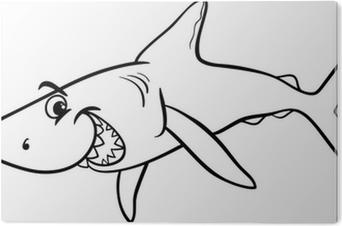 Köpekbalığı Hayvan Karikatür Boyama Kitabı Dört Parçalı Pixers
