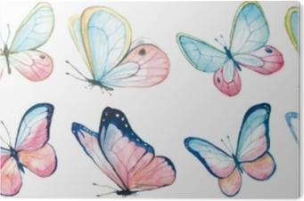 Alüminyum Baskı (Dibond) Uçan kelebekler koleksiyon suluboya.