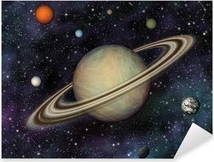 Pixerstick Aufkleber 3D Solar System. Saturn und seine 7 größten Monde.