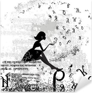 Pixerstick Aufkleber Abstrakten Design mit einem Mädchen grunge Textp