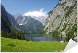 Pixerstick Aufkleber Alpenpanorama mit Bergsee am Watzmannp
