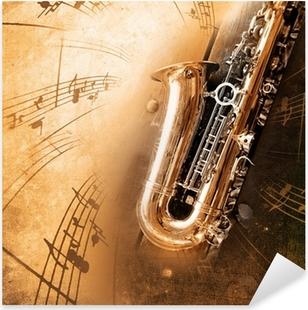 Pixerstick Aufkleber Alt Saxophon mit schmutzigen Hintergrund