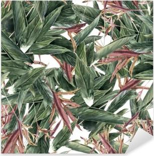 Pixerstick Aufkleber Aquarellmalerei Blatt und Blumen, nahtlose Muster