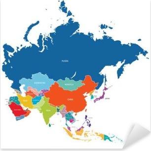 Pixerstick Aufkleber Asien-Kartep