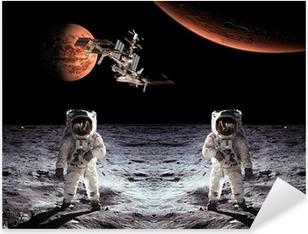 Pixerstick Aufkleber Astronauten Raumfahrer-Mond-Planetenp
