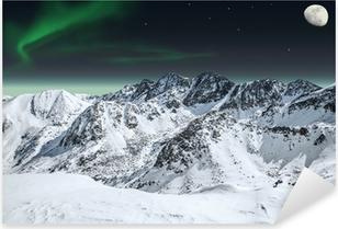 Pixerstick Aufkleber Aurora und Mond in den Bergen