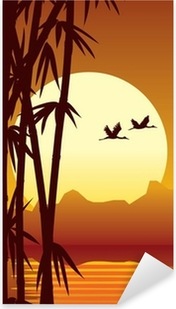 Pixerstick Aufkleber Bambus-und Sonnenuntergangp
