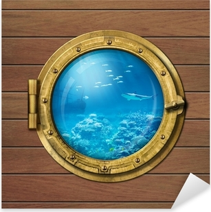 Pixerstick Aufkleber Bathyscaphe oder U-Boot-Bullauge unter Wasser