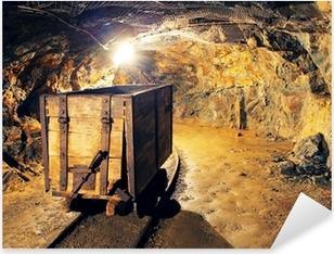 Pixerstick Aufkleber Bergbau Wagen in Silber, Gold, Kupfer Mine