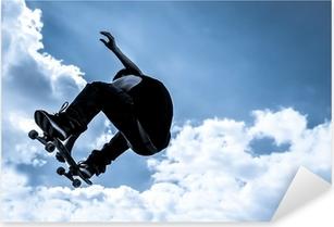 Pixerstick Aufkleber Blau getönten Mondlicht Skateboarding abstraktp