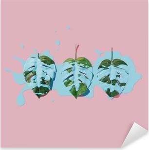 Wunderbar Pixerstick Aufkleber Blaue Farbe Splatter über Tropische Blätter Auf Rosa  Pastell Hintergrund. Flach Lag Minimales