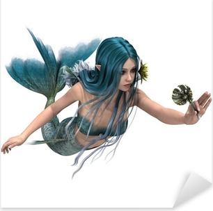 Pixerstick Aufkleber Blaue Meerjungfrau hält Sea Lily