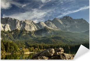 Pixerstick Aufkleber Blick vom Eibsee zur Zugspitze