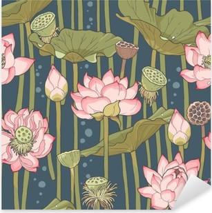 Pixerstick Aufkleber Blooming Lotus nahtlose
