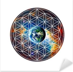 Pixerstick Aufkleber Blume des Lebens - Erde - Heilige Geometrie
