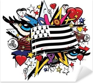 Pixerstick Aufkleber Breizh Bretagne Drapeau tag Graffiti Pop-Kunst-Abbildung