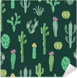 Pixerstick Aufkleber Cactus nahtlose Muster. Vector Hintergrund mit Kakteen und Sukkulenten