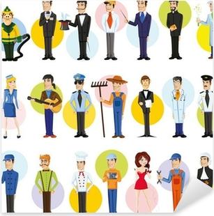 Pixerstick Aufkleber Cartoon Zeichen von verschiedenen Berufen