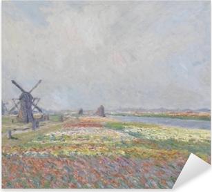 Pixerstick Aufkleber Claude Monet - Tulpenfelder bei der Windmühle von Rijnsburgp