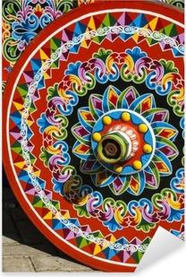 Pixerstick Aufkleber Costa Rica - Typische verziert und bemalt Ochsenkarren Rad