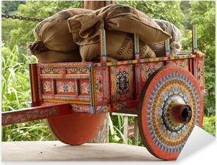 Pixerstick Aufkleber Costa Rican Ox Cart mit Säcke Kaffee geladenp