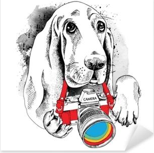 Pixerstick Aufkleber Das Poster mit dem Bild des Hundes mit der Kamera. Vektor-Illustrationp